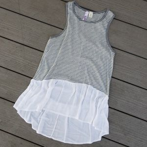 High low striped tank